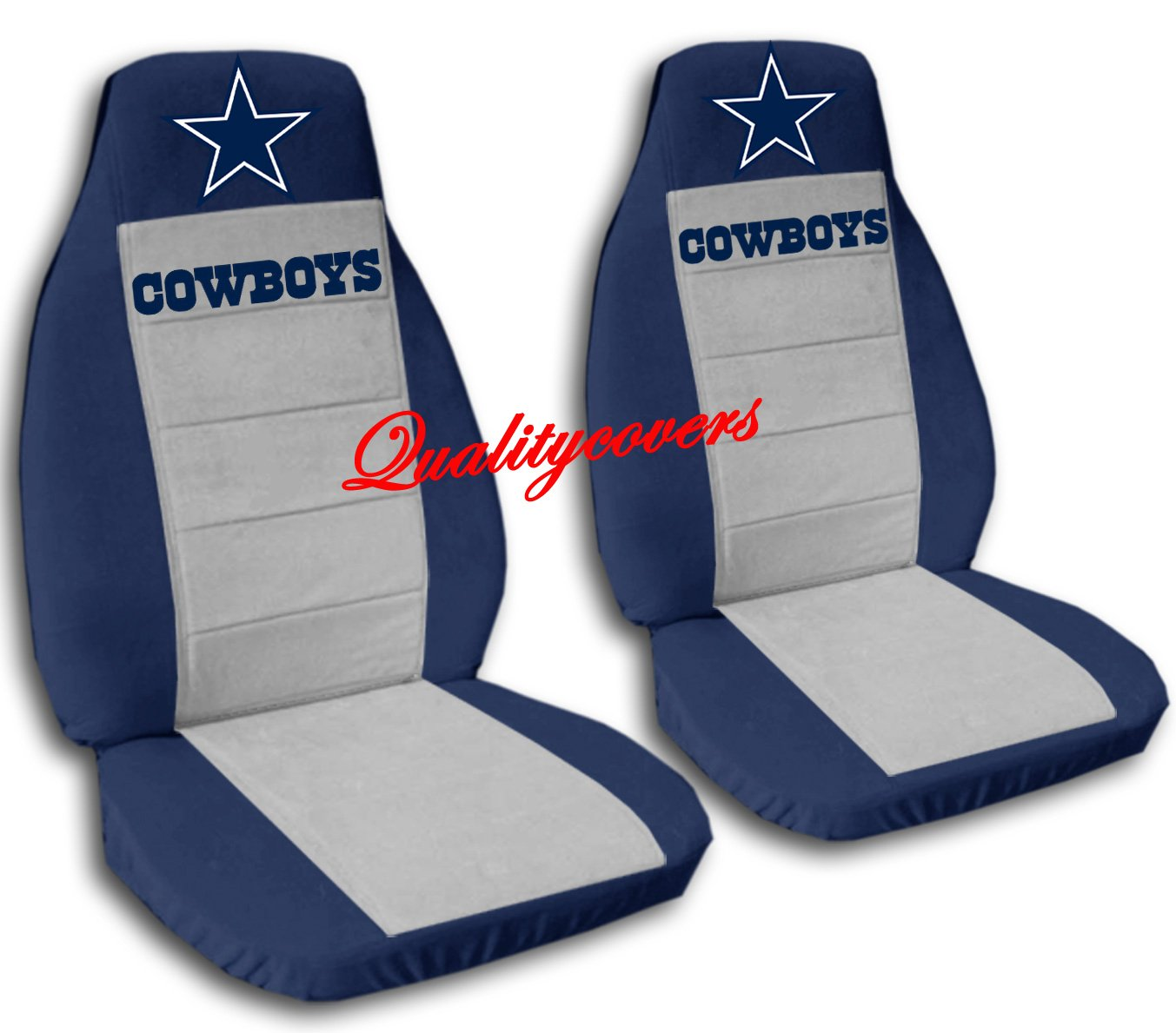 2 Navy Blue and Silver Cowboy seat covers for a 2008 Dodge Nitro Side Airbag friendly. by Designcovers (Image #1)
