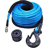 Ucreative 95 Feet Synthetic Winch Line Cable Rope with Hook anb Rubber Stopper for Off Road Vehicle SUV (Blue, 3/8 inch)