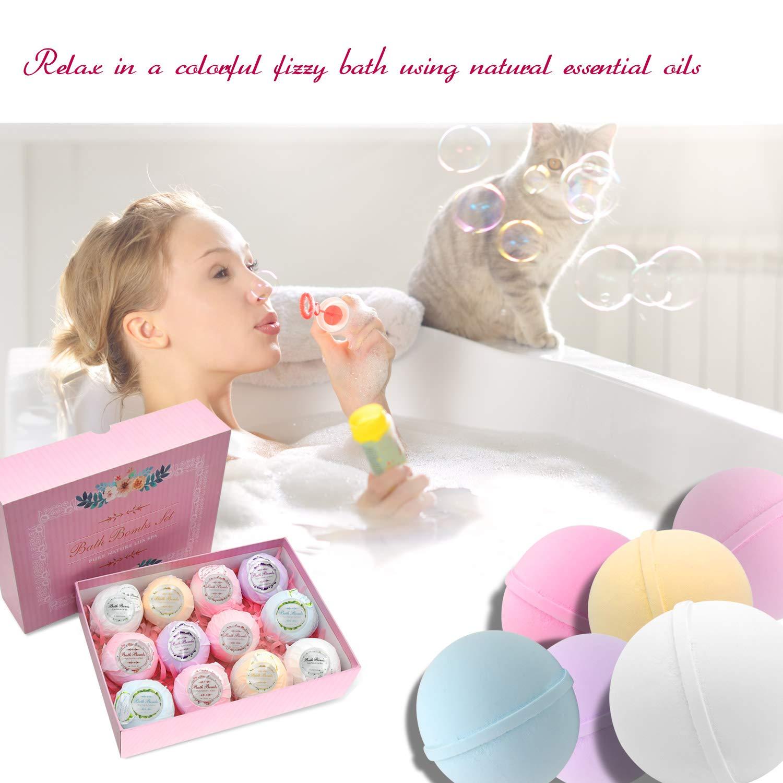 Bath Bombs Pack of 12 Natural Bath Supplies Bath Set Fragrance Organic Bath Gift Set - Perfect Valentines Birthday Christmas Gift for Women, Kids