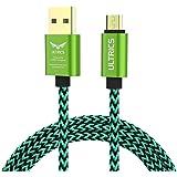 ULTRICS UT-1001-BR2-3M-GRE, Cavo Micro USB, cavo dati di ricarica con guscio metallico, intrecciato in nylon, Verde, 3 m