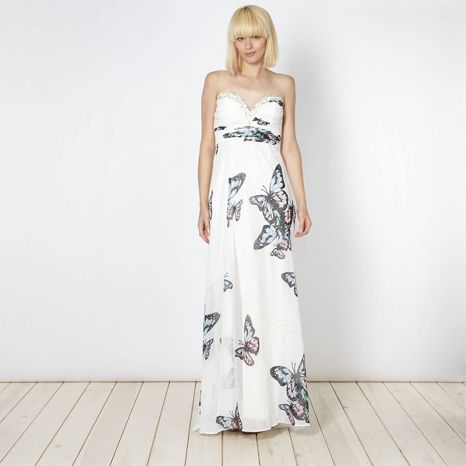 exquisite design sneakers store Lipsy VIP cream embellished butterfly maxi dress-8: Amazon.co.uk ...