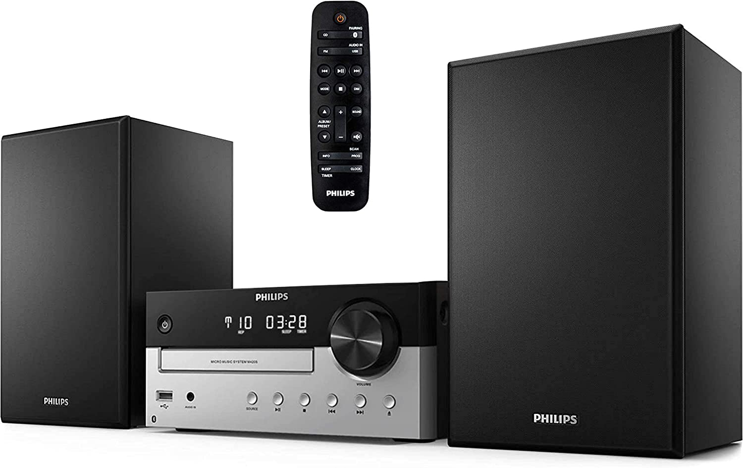 PHILIPS Bluetooth Stereo System for Home with CD Player, MP3, USB, Audio in, FM Radio, Bass Reflex Speaker, 60W, Remote Control Included (Renewed)