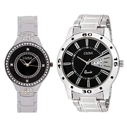 Combo of 2 Couple Watches with Black Dial