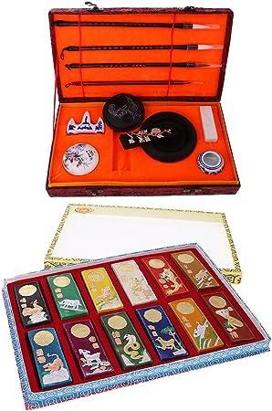 IPOTCH Set de Barras de Tintas de Colores de Zodiaco Chino, Caja de Regalo de Instrumentos de Caligrafía China, Regalo de Característica China: Amazon.es: Hogar