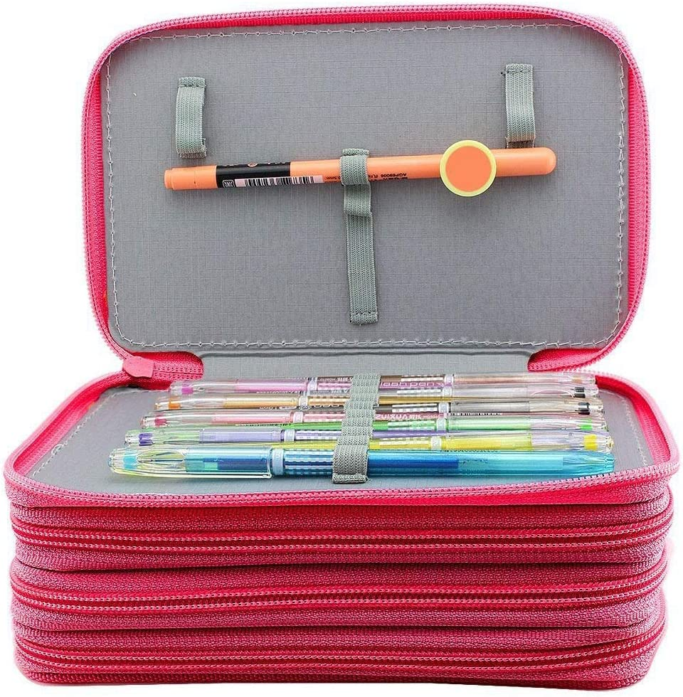 Sac /à Stylos Trousse /à Crayons Sac /À Crayon Croquis Mignon Pochette De Stockage Fourniture Scolaire Pen Case Stationery Oxford Box 3/ème /Étage 52 Trous Color : Blue