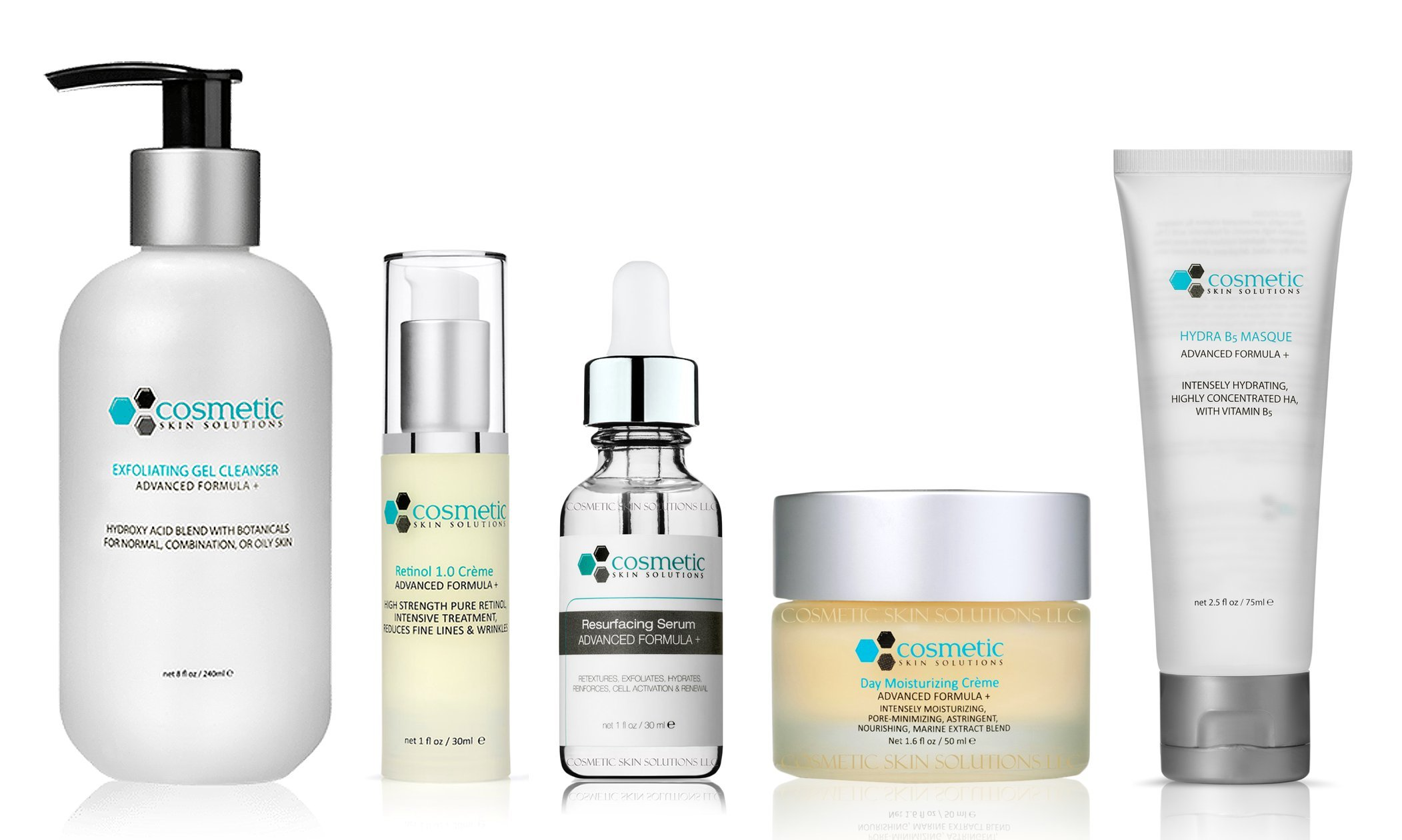 Cleanse | Correct | Resurface | Moisturize | Masque - 5 Combo Pack - Includes Luxurious Pore-refining Cleanser (8 oz), Retinol 1.0 (1 oz), Resurfacing Serum, Moisturizer, Intensely Hydrating B5 Masque