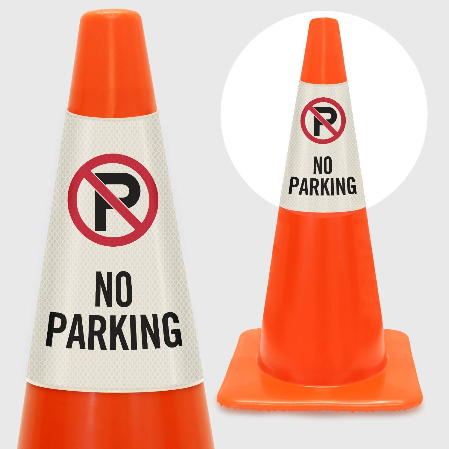 SmartSign''No Parking'' Cone Message Sleeve, Bright Easy-to-Read, Vertical Shape | Reflective Vinyl by SmartSign