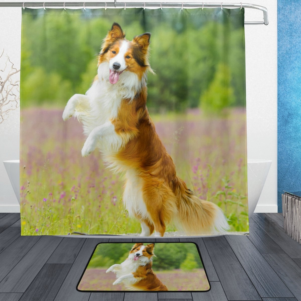 ColourLife Shower Curtain And Rug Set Collie Dog Stand Up Polyester  Waterproof Mildew Resistant Bath Curtain And Mat for Bathroom With Hooks 72  x 72 Inches