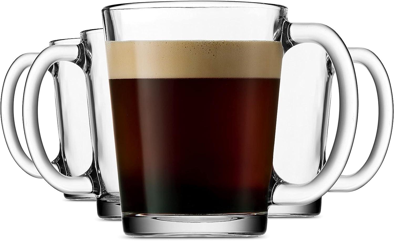 Godinger Coffee Mugs, Italian Made Glass Coffee Mug, Hot Beverage Tea Cups - Set of 4