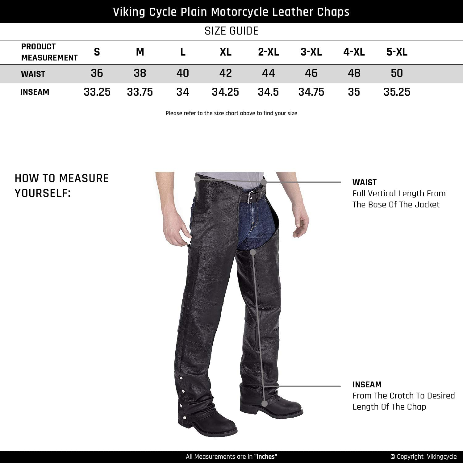 Viking Cycle Mens Plain Motorcycle Leather Chaps