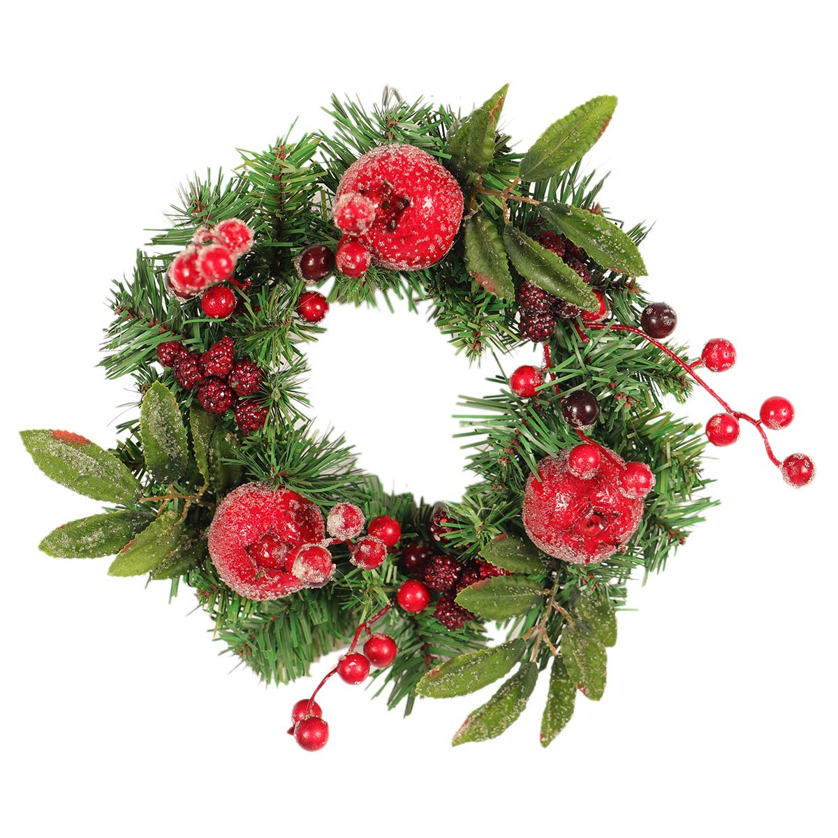 ACMEDE Wreath Artificial Leafs Berries Year Round Beautiful Wreath Transforms Front Door Decor for Restaurant Hotel Home Mall (Diameter 30cm)