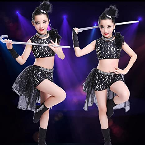 HUOFEINIAO-Abbigliamento da ballo Abiti per bambini performance jazz danza  ragazza performance glitter bambini vestiti c04d4da3a1c4