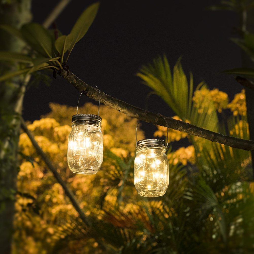 Mason Jar Licht, Solar Laterne 20Leds Lichterkett Glas Hängeleuchte Outdoor Solarlampe Balkon Tischleuchte für Außen,Dekoration für Zuhause Party Garten Hochzeit(Warmweiß)