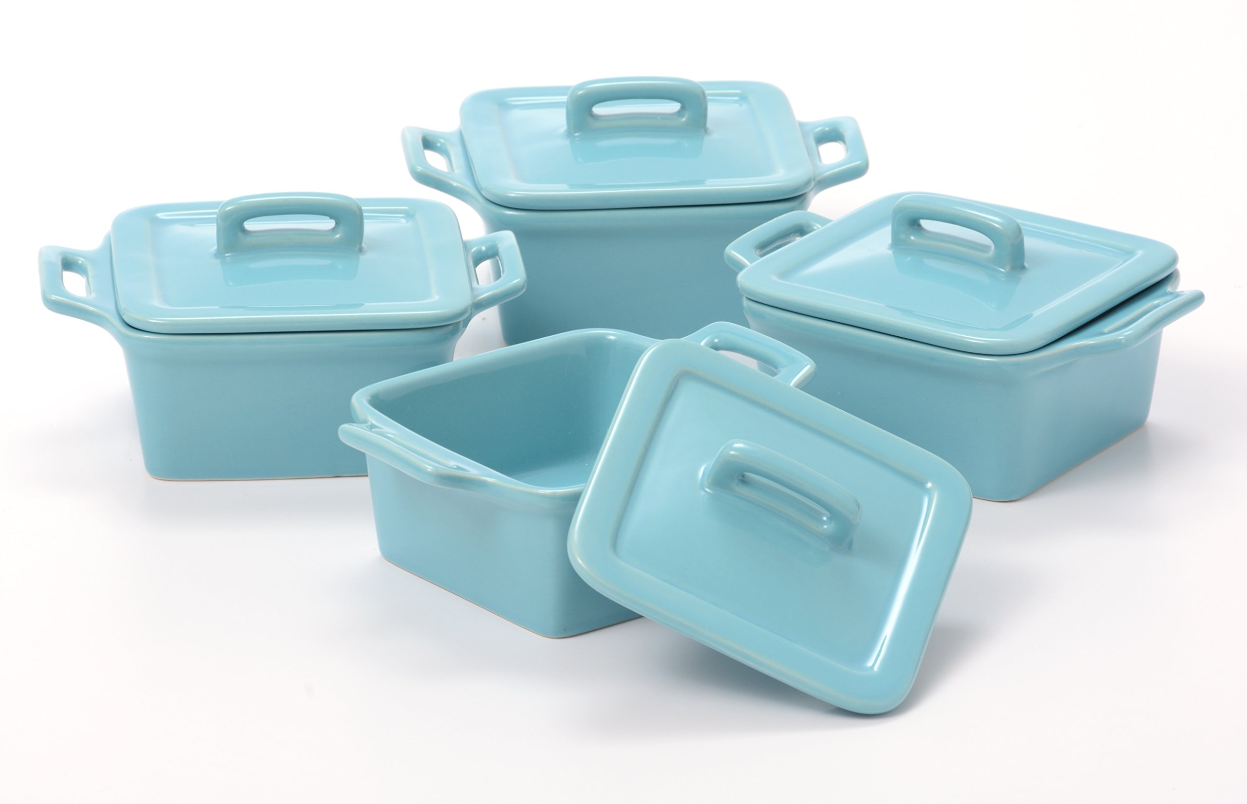 O-Ware Turquoise Stoneware Mini Square Baker with Lid, Set of 4