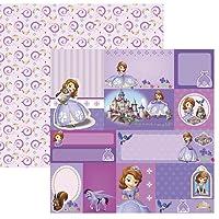 Kit Folhas para Scrapbook DF Princesinha Sofia 2 Tags, Toke e Crie SDFD98, Multicor, Pacote de 12