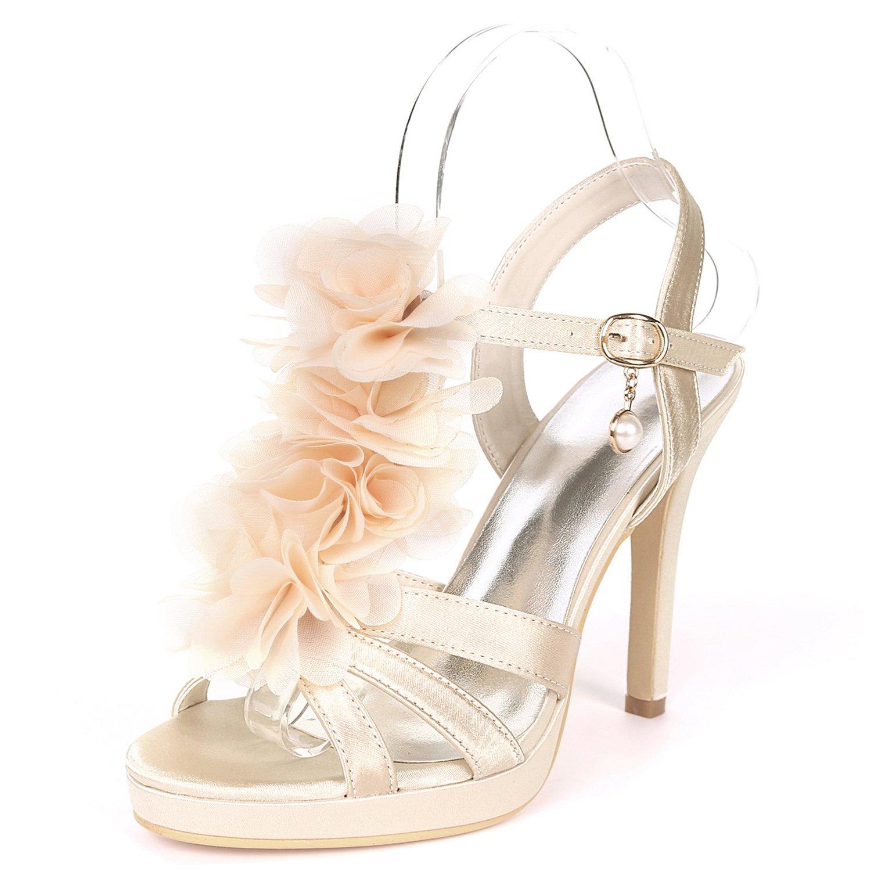 Qingchunhuangtang@ Temperament Celebrity Satin Stiletto Heels Peep-Toe Blaumendekoration Sandalen Prom Modelle Mode Schuhe Partei Partei