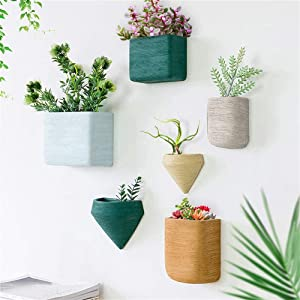 Ecosides Set of 6 Wall Hanging Geometric Planter Vase Resin Wall Decor Container - Succulent Plants, Air Plant, Faux Plants