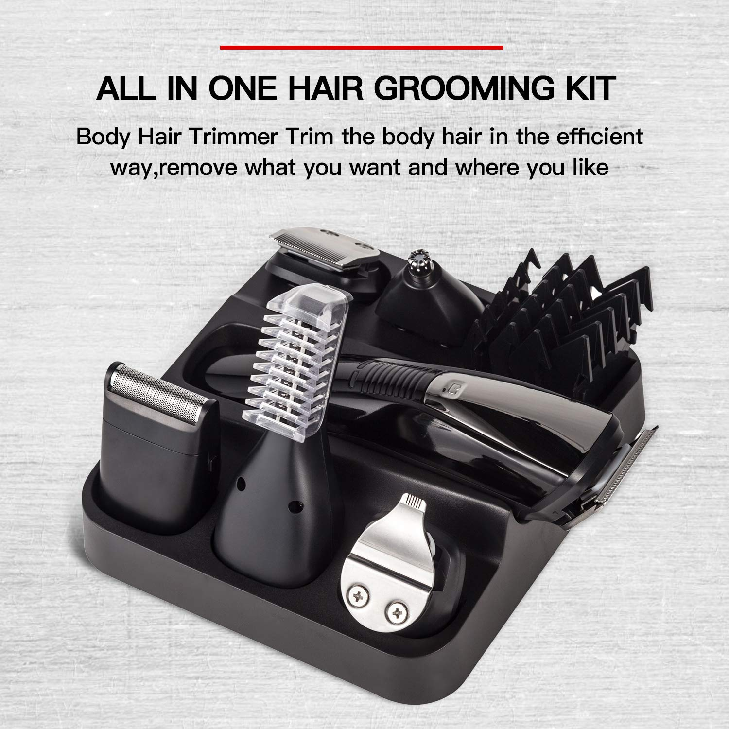 6 In 1 Mens Hair Clipper Beard Trimmer Set, Waterproof Hair Trimmer Grooming Kit