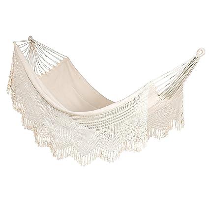 Oak N Oak Handmade Cotton Hammock Swing With Crochet/Outdoor (Double Person Use)
