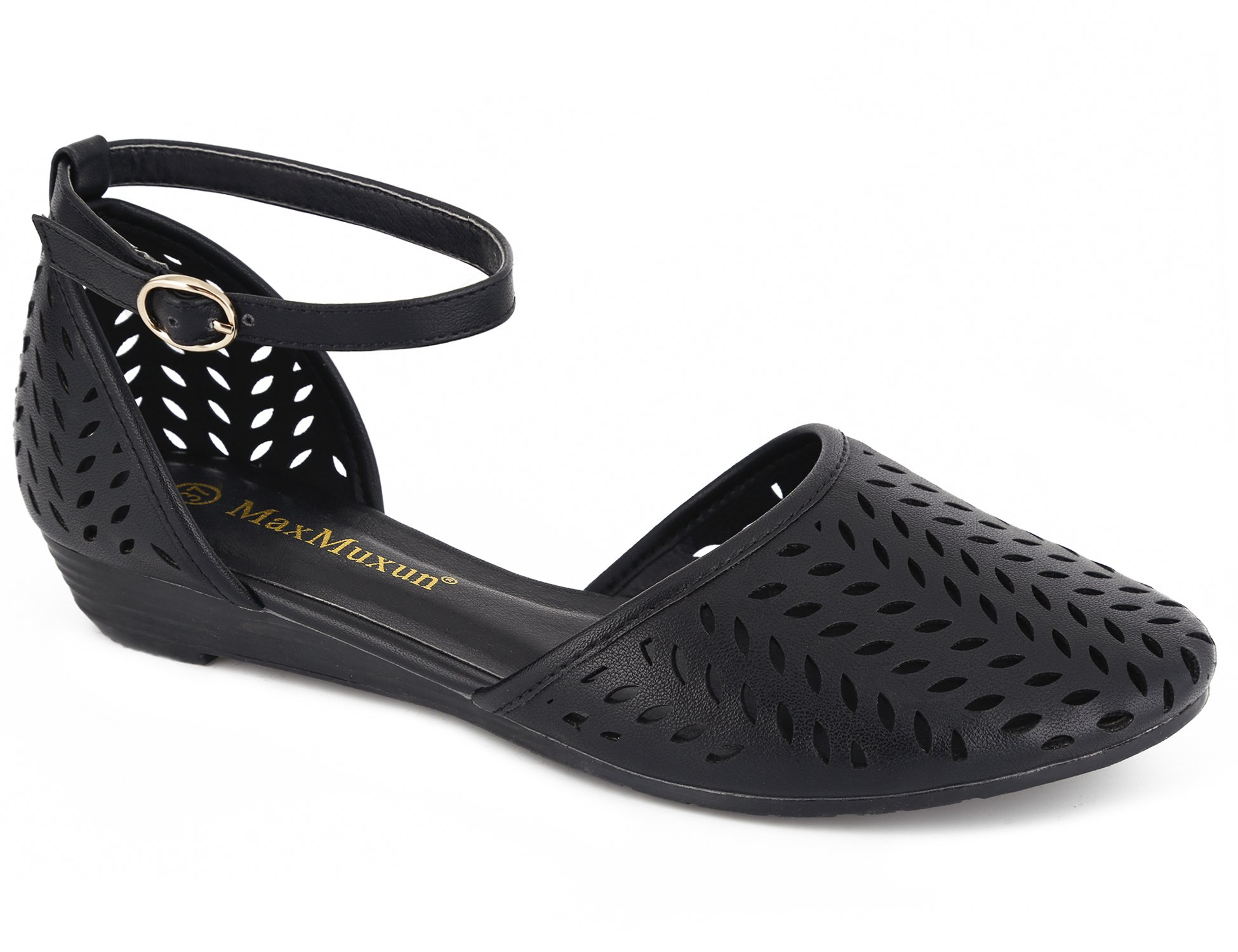 MaxMuxun Womens Roman Ankle Strap Cage Closed Toe Black Flat Sandals Size 9