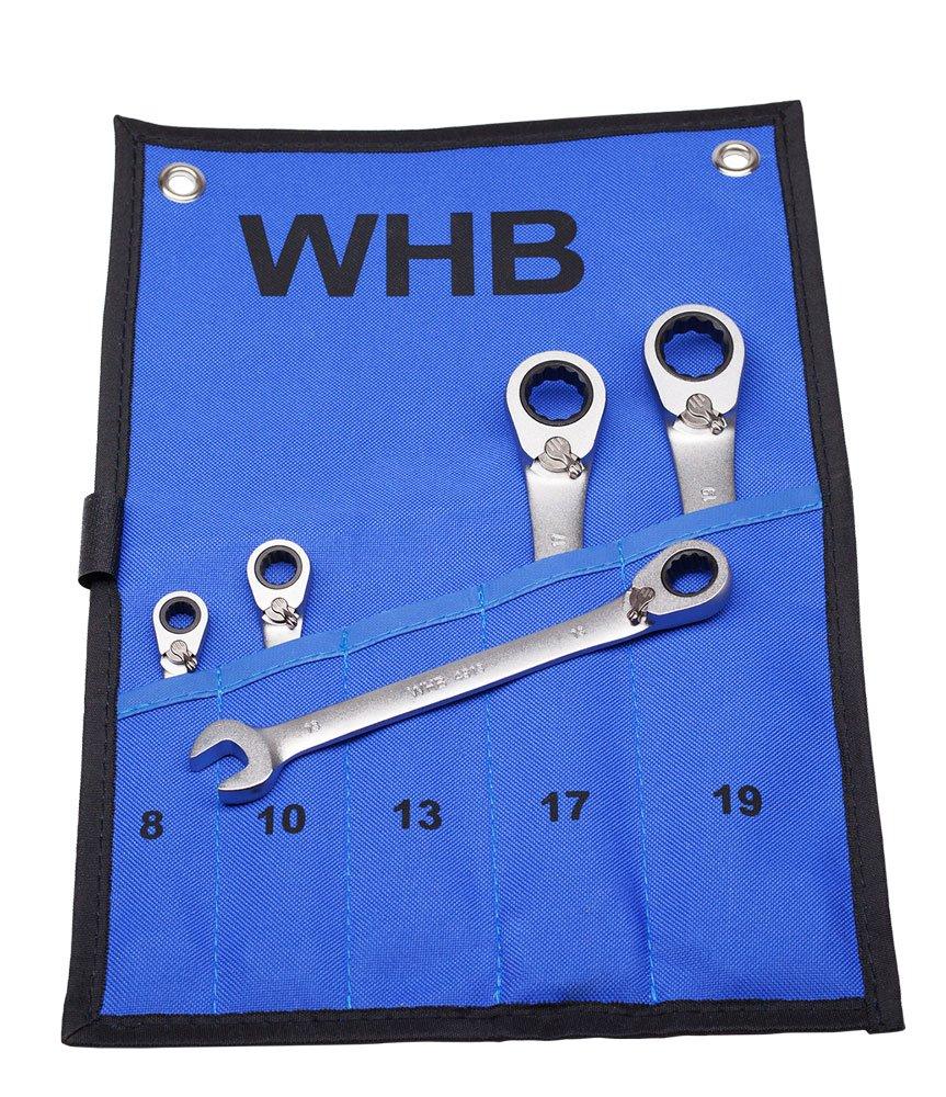 in Canvas Rolltasche WHB Tools Umschaltbarer Ratschenschl/üssel-Satz 5-tlg