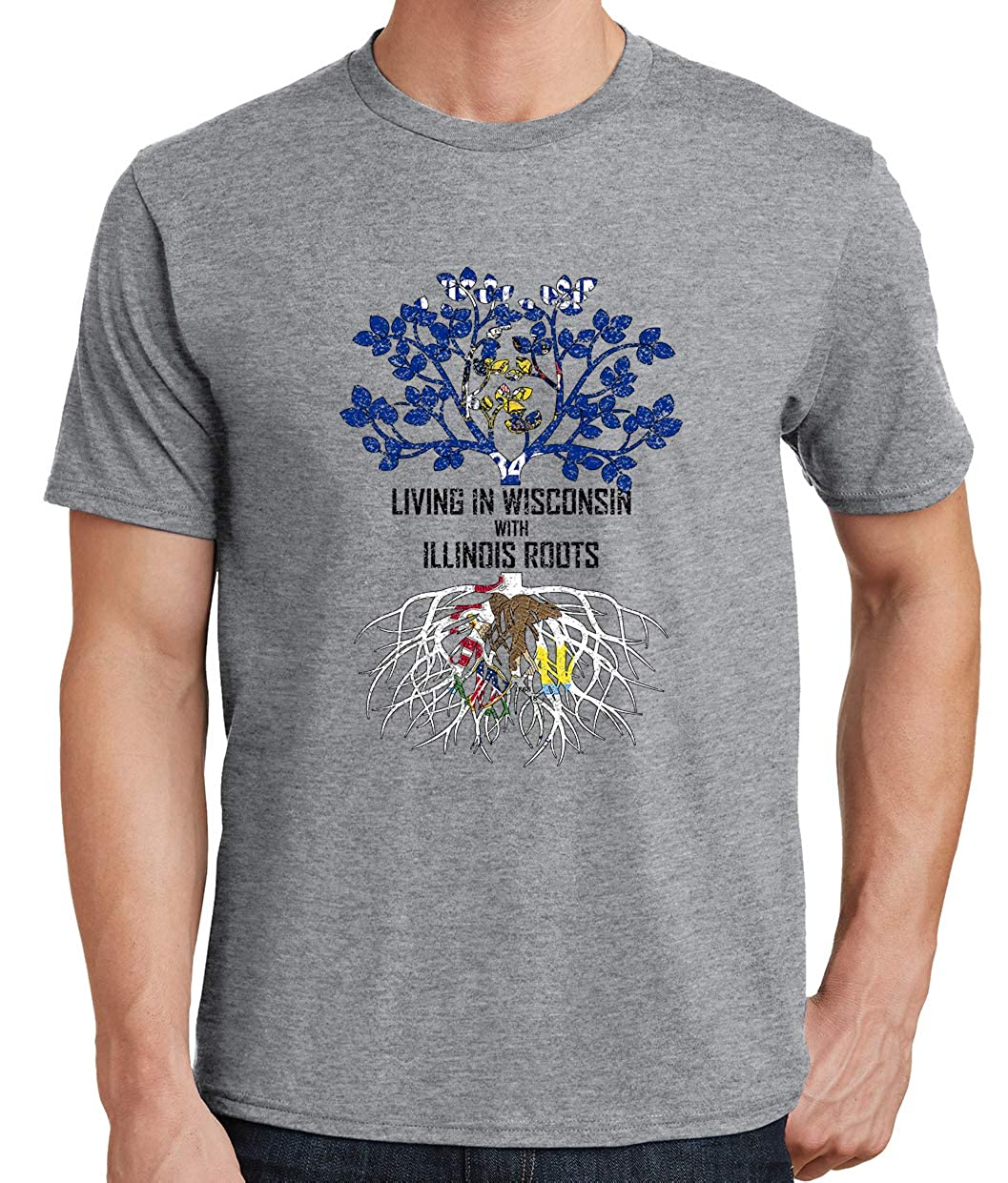 Tenacitee Mens Living in Wisconsin Illinois Roots T-Shirt
