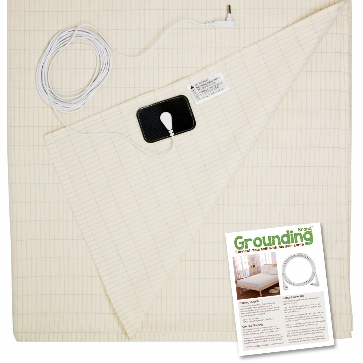 Earthing Sheet Flat Twin Size with Grounding Connection Cord, 400TC Conductive Mat with Pure Silver Thread for Better Sleep, Natural Wellness and Healthy Earth Energy, Natural Beige