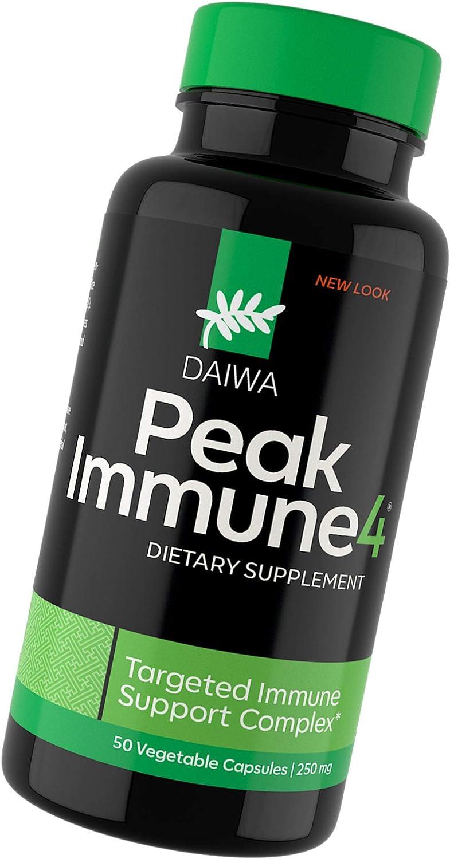 Daiwa Peak Immune 4 - Immune System Booster – Rice Bran and Shitake Mushroom Supplement for Natural Immune Support, 50 Count