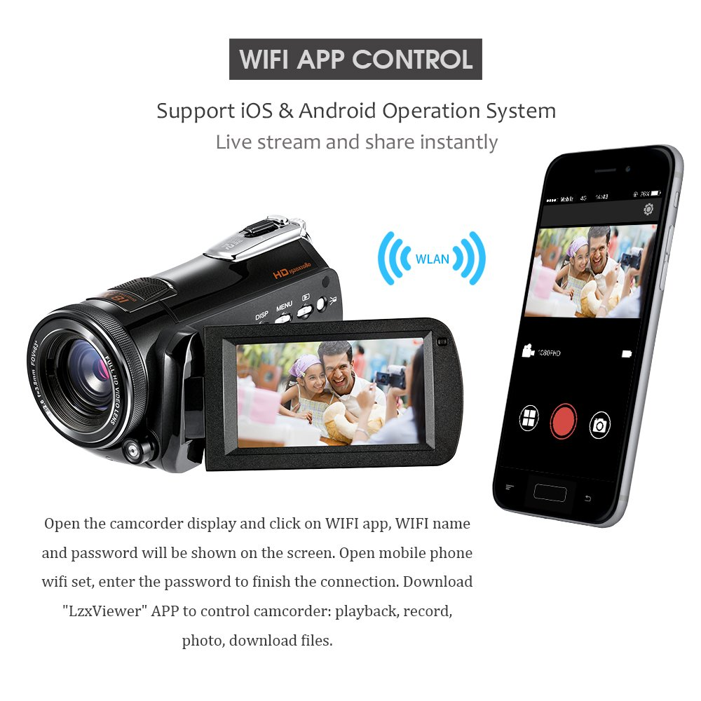 ORDRO HDV-D395 Night Vision Camcorder WiFi Full HD 1080P 18X Zoom Digital Video Camera 3.0Inches LCD Screen Webcam HDMI Remote Control by ORDRO (Image #4)