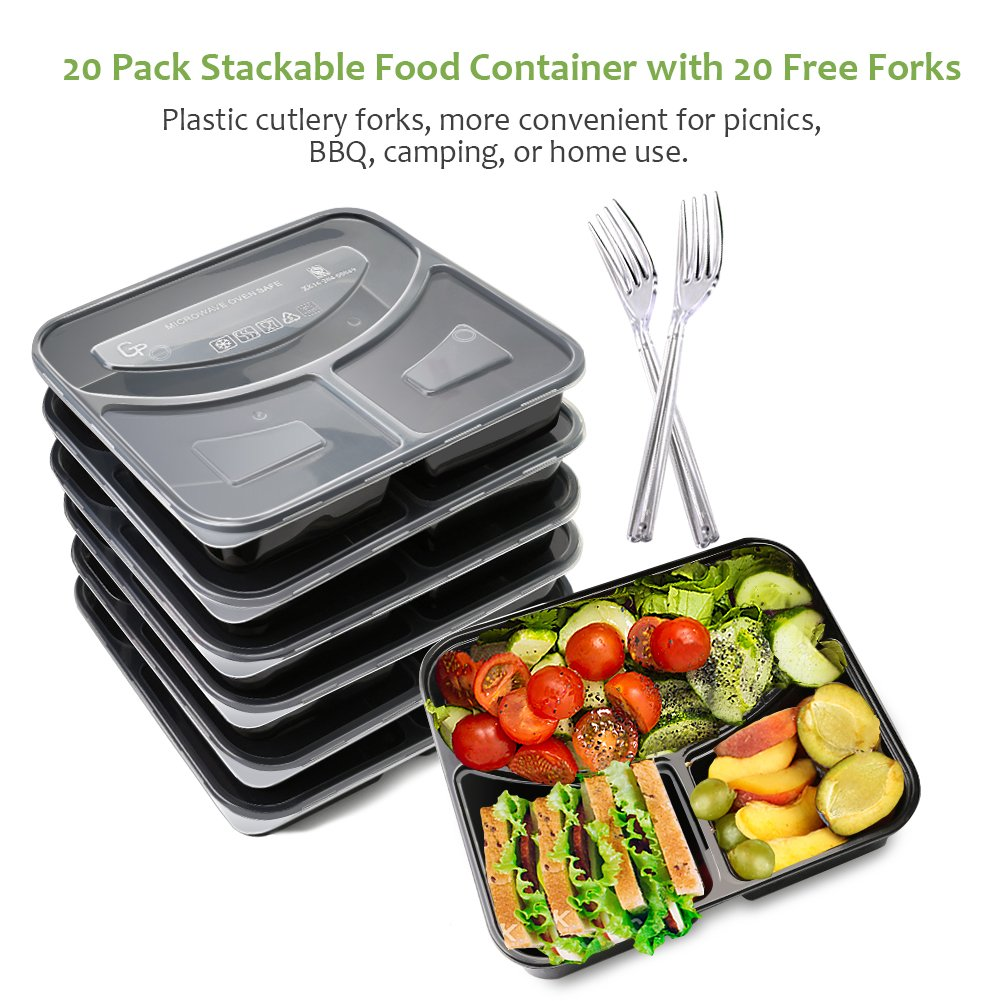 BASA Meal Prep Containers[20 Pack] 3 Compartment with Lids and Forks Bpa Free Portion Control Bento Box-Food Stackble-Microwave/Dishwasher / Freezer Safe, 32oz, Black by BASA (Image #4)