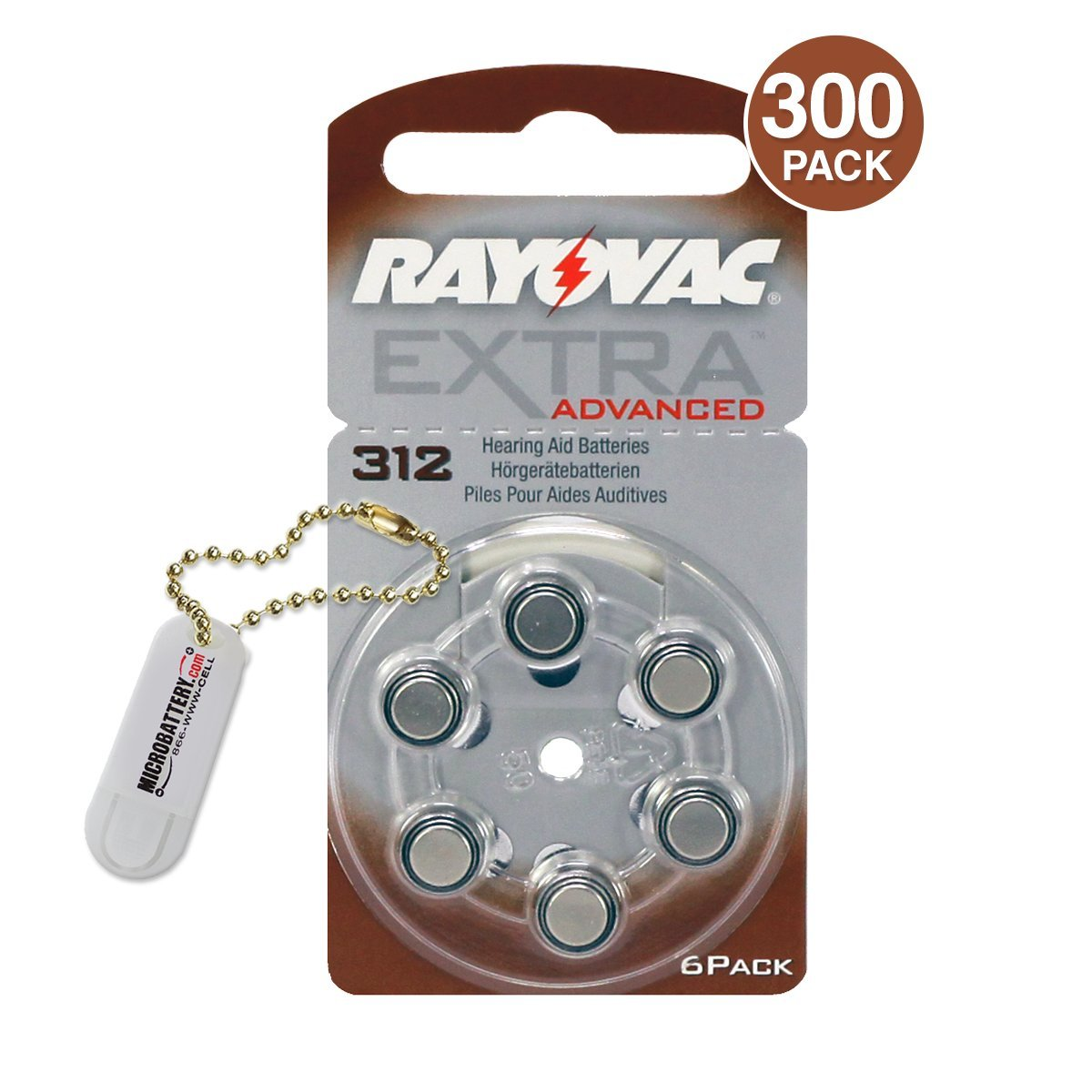 Rayovac Extra Advanced Hearing Aid Batteries Size 312 (300 Batteries) + Keychain by Rayovac