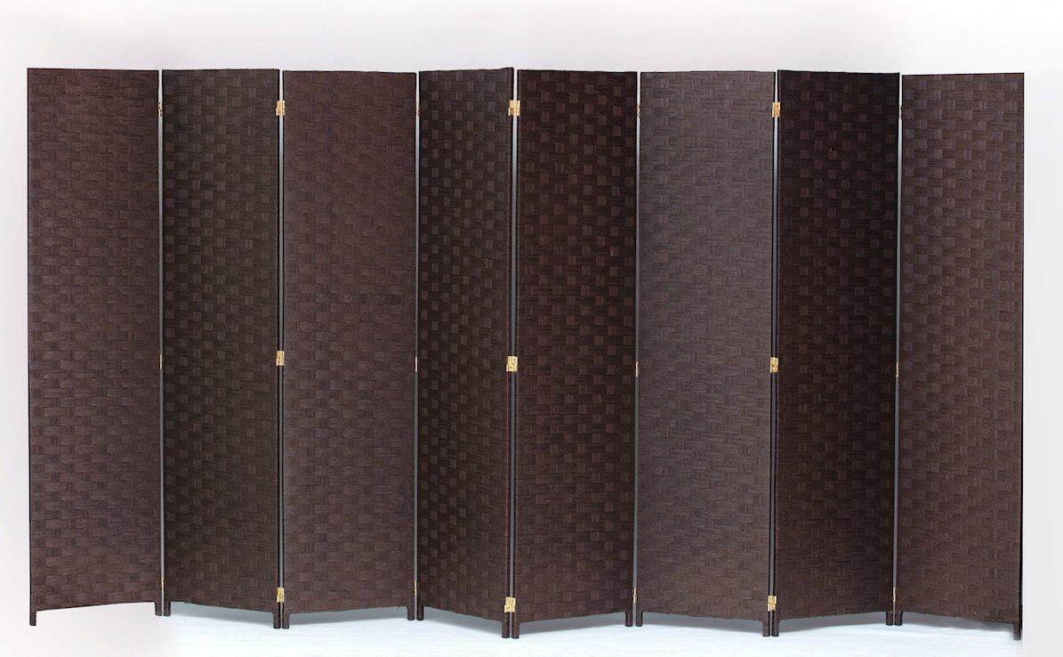 Room Divider 8 Panel Weave Design Paper Fiber Brown Color By Legacy Decor