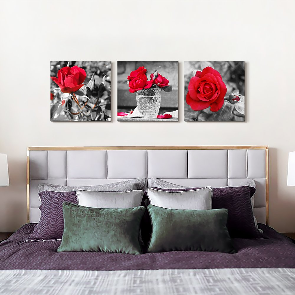 Black And White Artwork For Bedroom: Wall Art For Bedroom Black And White Rose Flowers Red