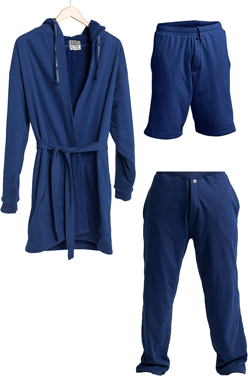DudeRobe Men's Hooded Robe, SweatShorts, and Sweatpants Set | As Seen on Shark Tank!
