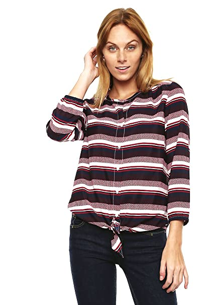 3283da64 Tommy Hilfiger Womens Striped Tie-Hem Button Down Blouse Multicoloured M at  Amazon Women's Clothing store: