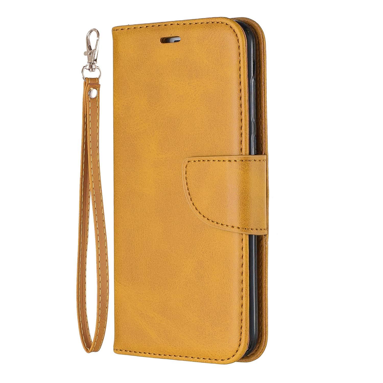 Custodia Portafoglio a Libro Pelle Porta Carte Chiusura Magnetica Antiurto Leather Wallet Case per Huawei P Smart Lomogo Flip Cover Huawei P Smart LOBFE150310 Giallo