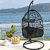 LETATA Egg Chair with Stand Outdoor Patio Swing Wicker Hanging Chair Swing Chair with UV Resistant Tufted Cushion Indoor Hamm