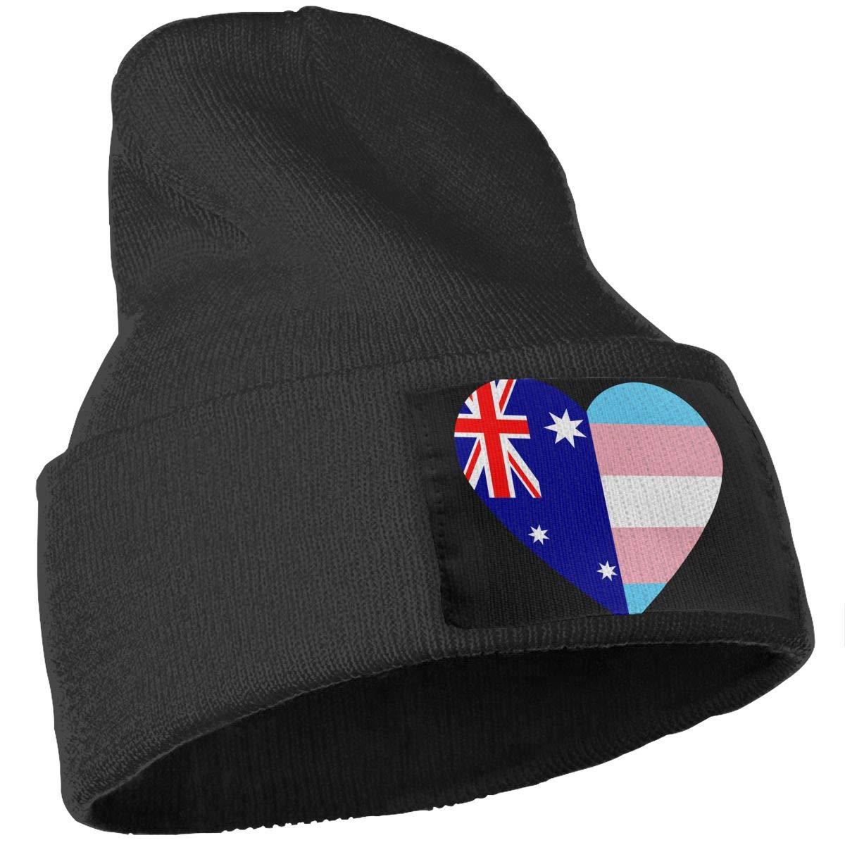 Stretchy /& Soft Winter Ski Skull Caps Australian Flag Transgender Pride Flag Heart Unisex Solid Color Knit Beanie Hat
