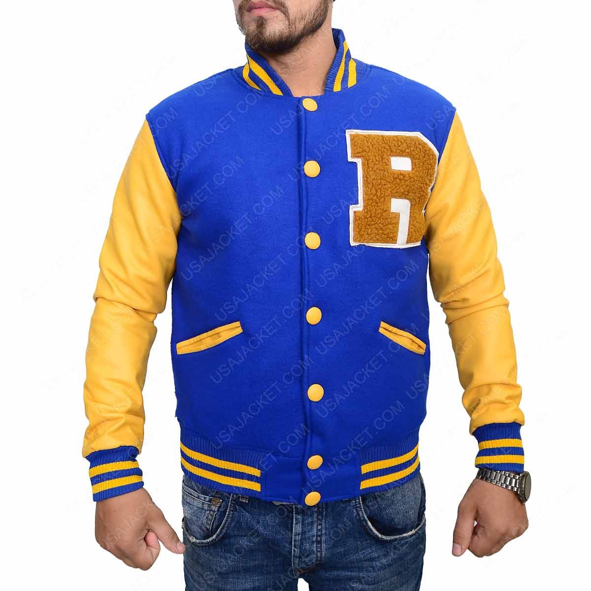 KJ Apa Riverdale Jacket R Logo Archie Andrews Letterman Varsity Outfit Yellow and Blue)