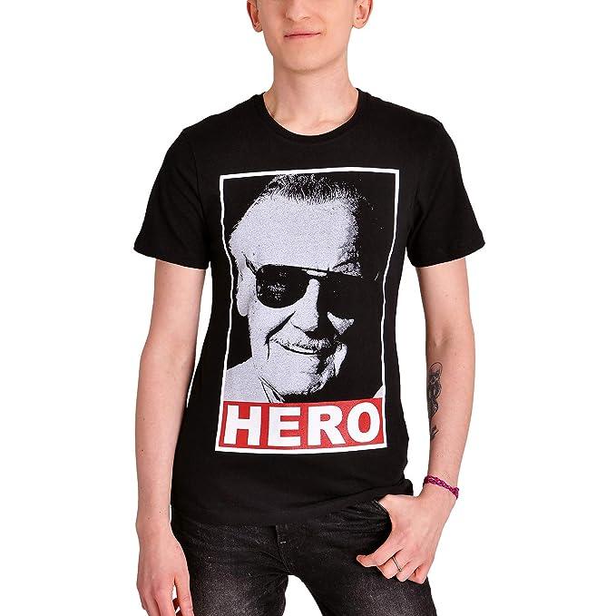 53647c68d2 Stan Lee Camiseta Hombre Hero Marvel Algodón Negro  Amazon.es  Ropa y  accesorios