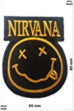 Patches - Nirvana - Smiley - black/gold - Fun Patches - Adult - Vest - Iron on Patch - Applique embroidery Écusson brodé Costume Cadeau- Give Away