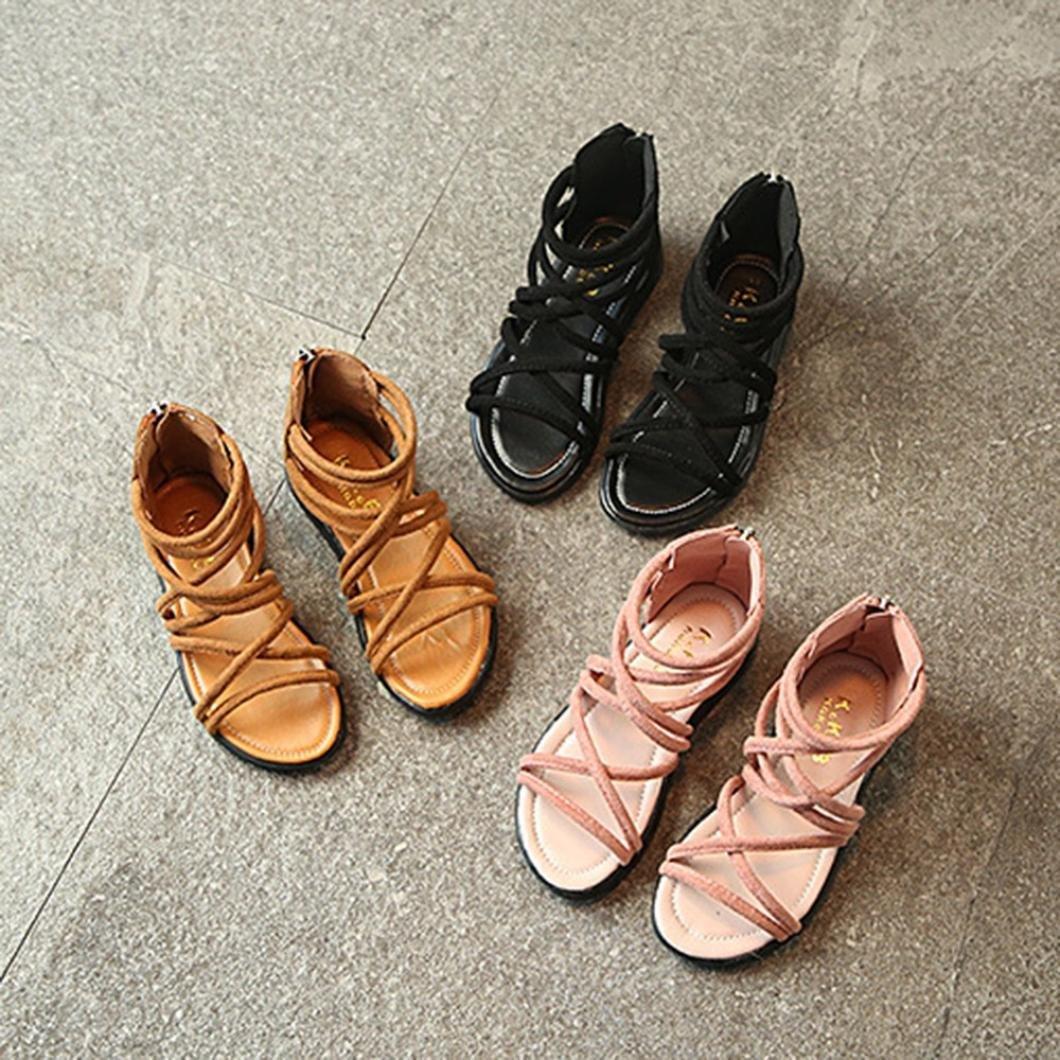 0436d0970f515 EU21- 30 Bebe Fille ETE Sandales Plage Cuir Chaussures Plat Gladiateur  Sandales Agrandir l image