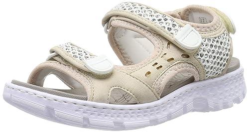 Rieker Damen Schuh Sandale weisssilber Gr. 42