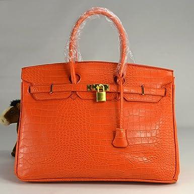 1f5214a495fc Faux Crocodile Skin Pattent Leather Birkin Inspired Tote Handbag with Gold  Metal Trim (Orange) (40cm)  Amazon.co.uk  Clothing