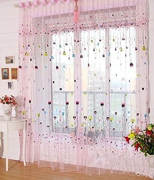 Gardine Kinderzimmer | Yiyida 2er Set Voile Gardinen Kinderzimmer Vorhange Bunte Ballon