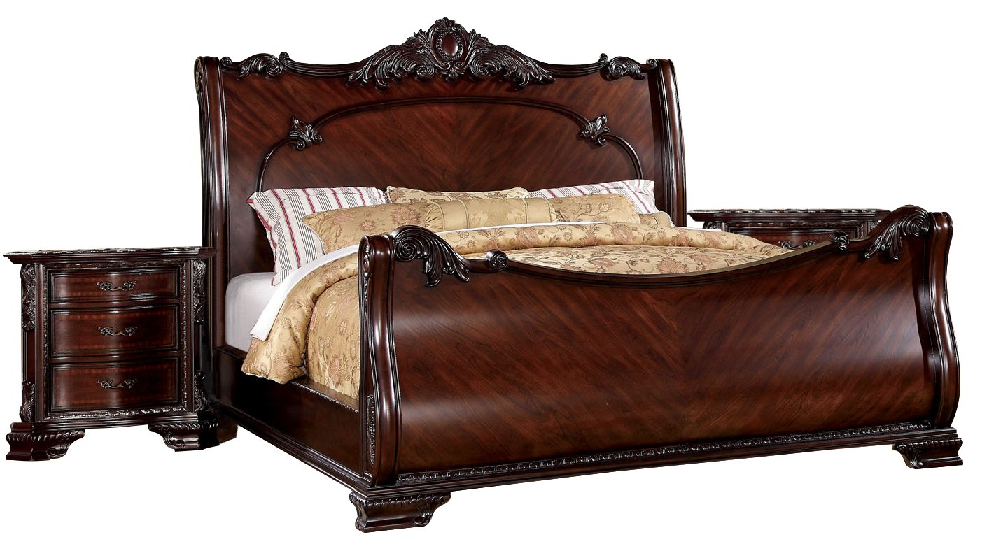 Furniture of America Clairmonte 3-Piece Baroque Style Sleigh Bed Set with 2 Nightstands - Eastern King - Brown Cherry
