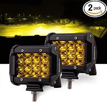 Amazon Com Led Lights Bar Car And Truck Fog Lights 4 Inch 36w Amber Light Work Lights 12v 24v 2 Pcs Set Apply To Off Road Truck Car Atv Suv 4inch 36w Amber Automotive