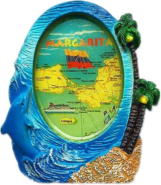 Hqiyaols Souvenir Marco del Mapa Isla Margarita Venezuela España Refrigerador 3D Imán de Nevera Ciudad de Viajes Recuerdo Colección Decoración Tablero Blanco Etiqueta Resina: Amazon.es: Hogar