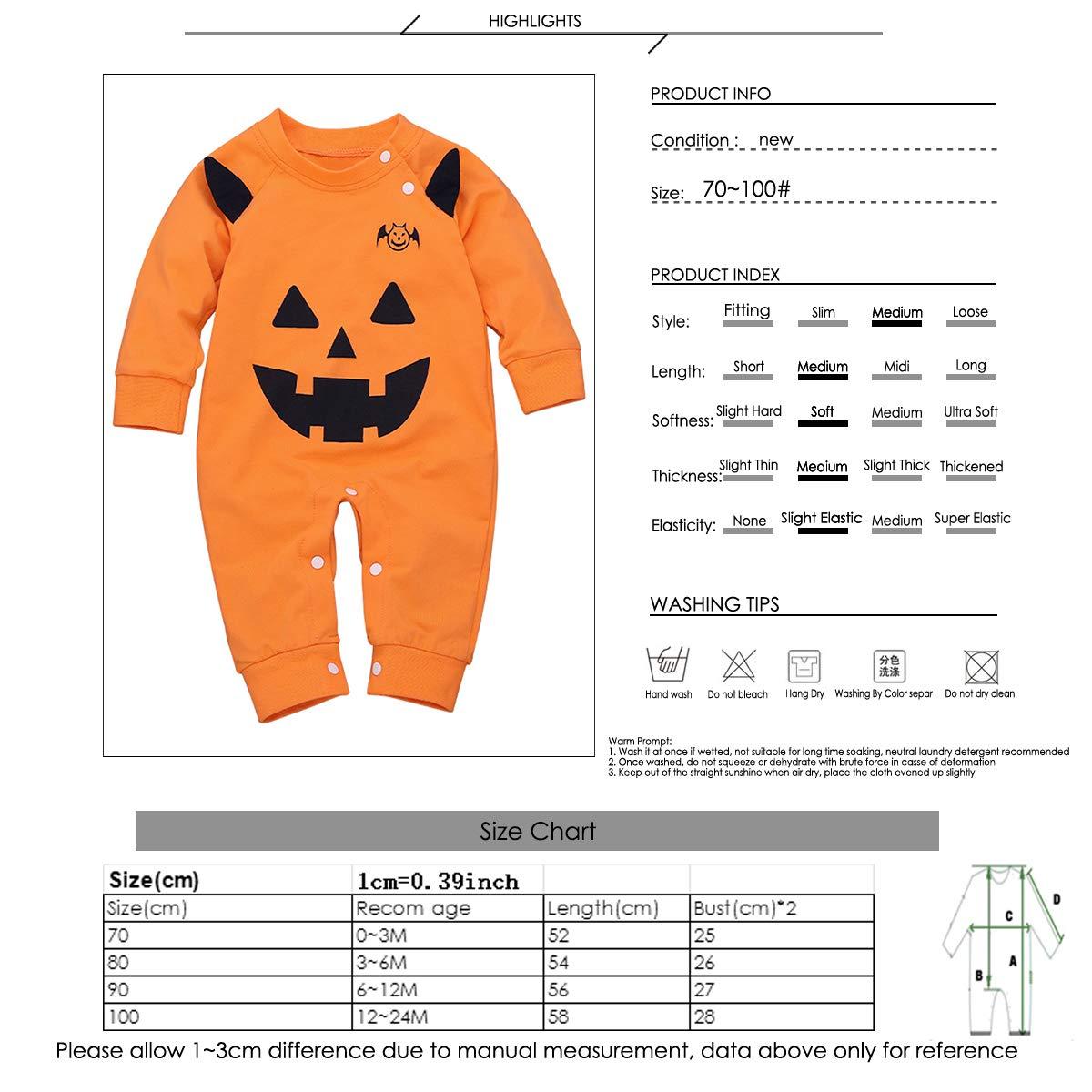 Borlai Baby Girls Boys Outfits Halloween Costume Newborn Pumpkin Romper Bodysuit Playsuit Cute Jumpsuit 0-24M