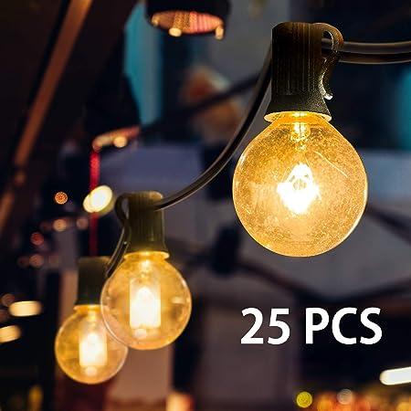 Lichterkette Außen, Mture Lichterkette 25 Globe Garten Lichterkette Warmweiß, Innen-und Außen Deko Glühbirne für Zuhause, Par